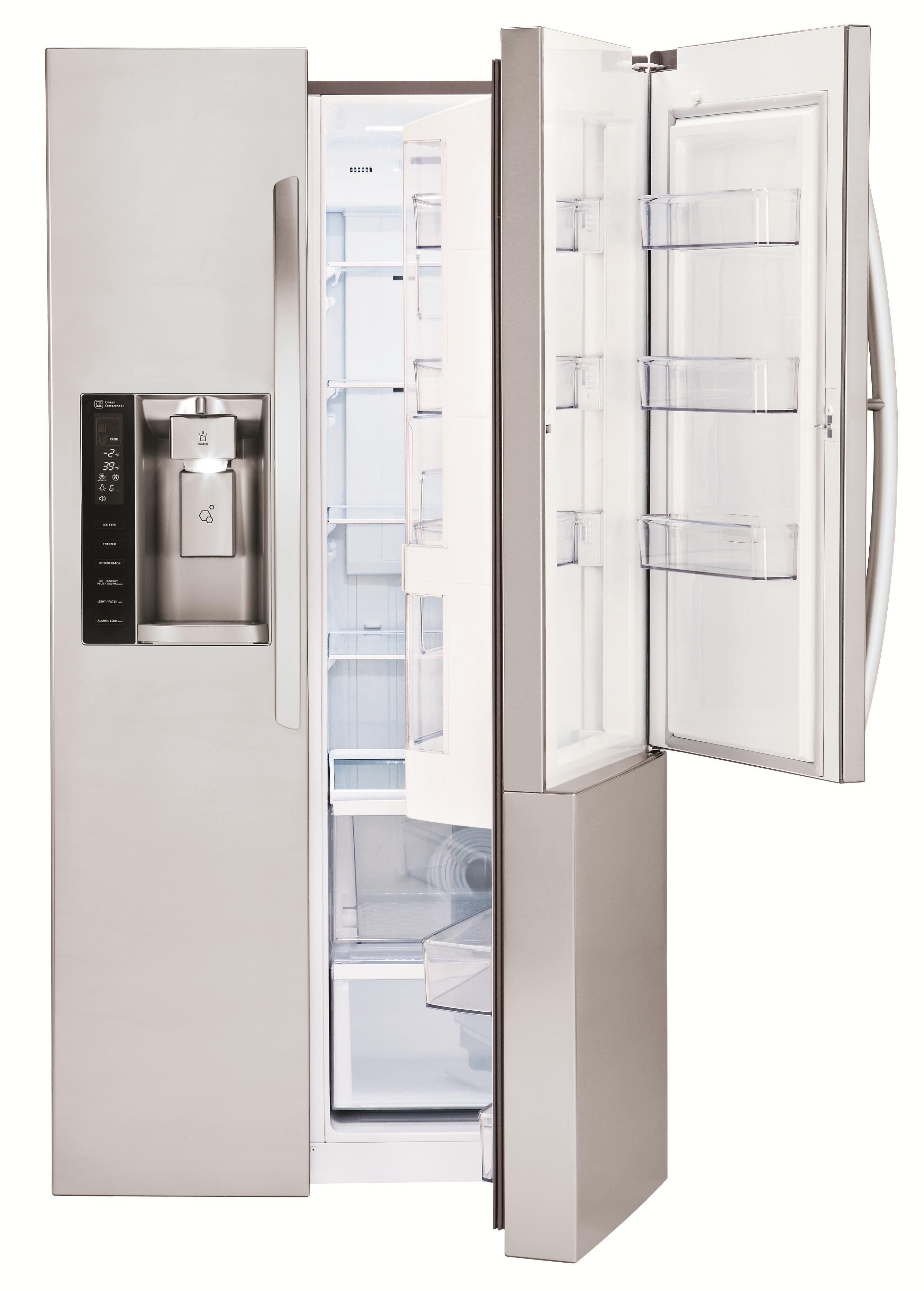 LG Appliances Side by Side Refrigerators 26 cu. ft. Side by Side 3 Door Refridgerator - Item Number: LSXS26366S
