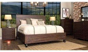 LG Interiors Brooklyn Brown Wood Queen Bed