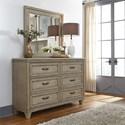 Liberty Furniture 573 Transitional 6 Drawer Dresser & Beveled Glass Mirror