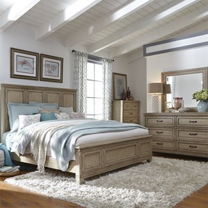 Liberty Furniture 573 King Panel Bed, Dresser & Mirror, Chest