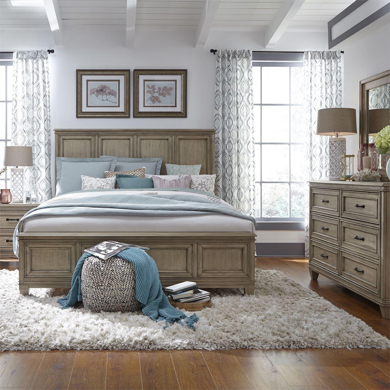 Liberty Furniture 573 King Panel Bed, Dresser & Mirror, N/S  - Item Number: 573-BR-KPBDMN