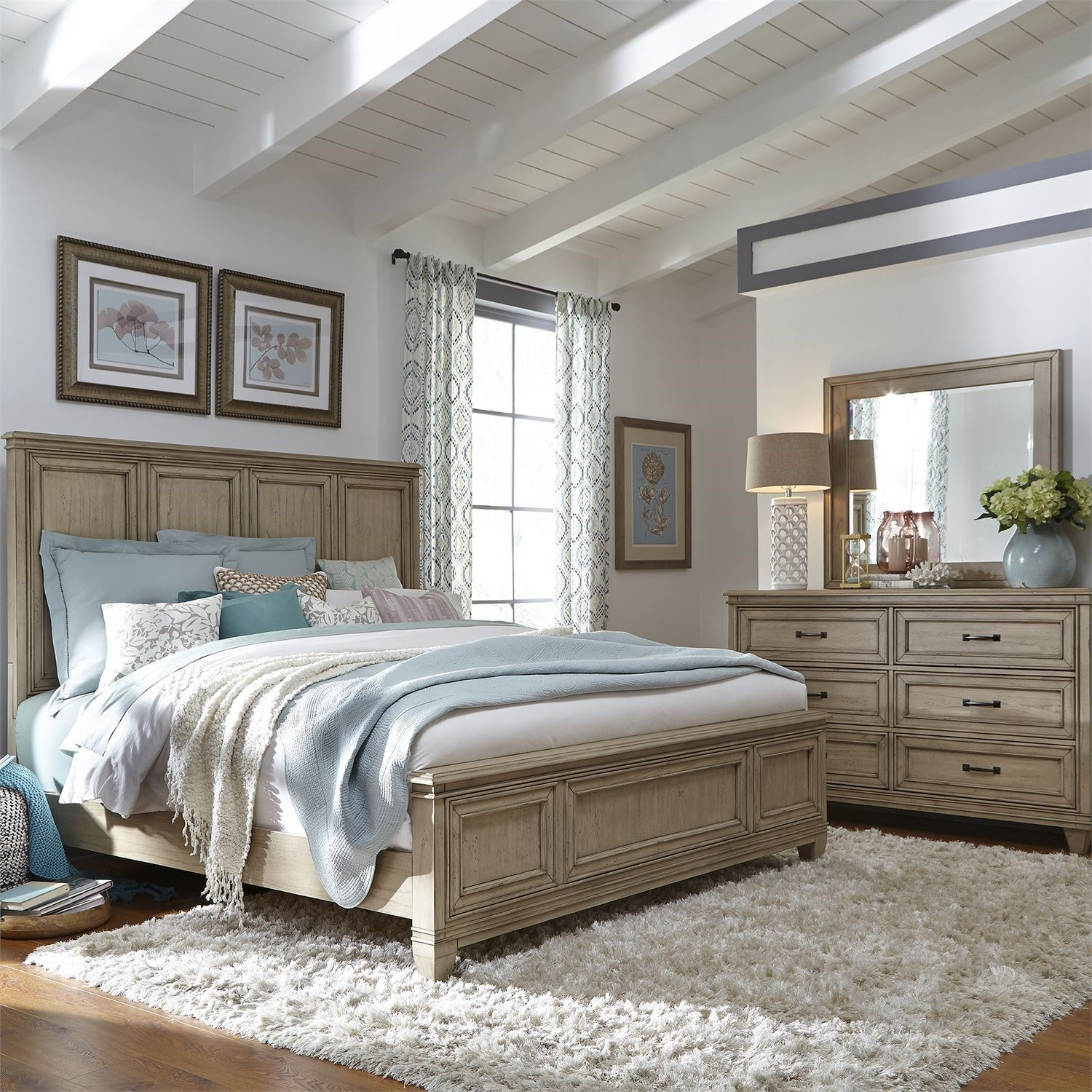 Liberty Furniture 573 Queen Panel Bed, Dresser & Mirror  - Item Number: 573-BR-QPBDM