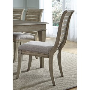 Vendor 5349 573 Slat Back Side Chair with Upholstered Seat