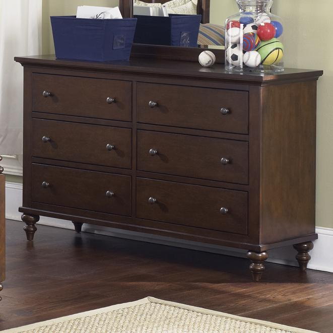 Liberty Furniture Abbott Ridge Youth Bedroom 6 Drawer Dresser - Item Number: 277-BR30