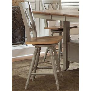 Liberty Furniture Al Fresco Double X Back Swivel Counter Chair (RTA)