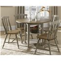 Liberty Furniture Al Fresco Round Drop-Leaf Dining Leg Table - Shown with Slat Back Side Chairs