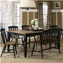 Liberty Furniture Al Fresco II 6 Piece Dining Table and Chairs Set - Item Number: 641-T4074+4xC1500S+1xC9000B