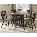 Liberty Furniture Al Fresco II Round Drop-Leaf Dining Leg Table - Shown with Slat Back Side Chairs