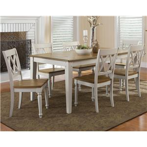 Vendor 5349 Al Fresco III 7 Piece Rectangular Table and Chairs Set