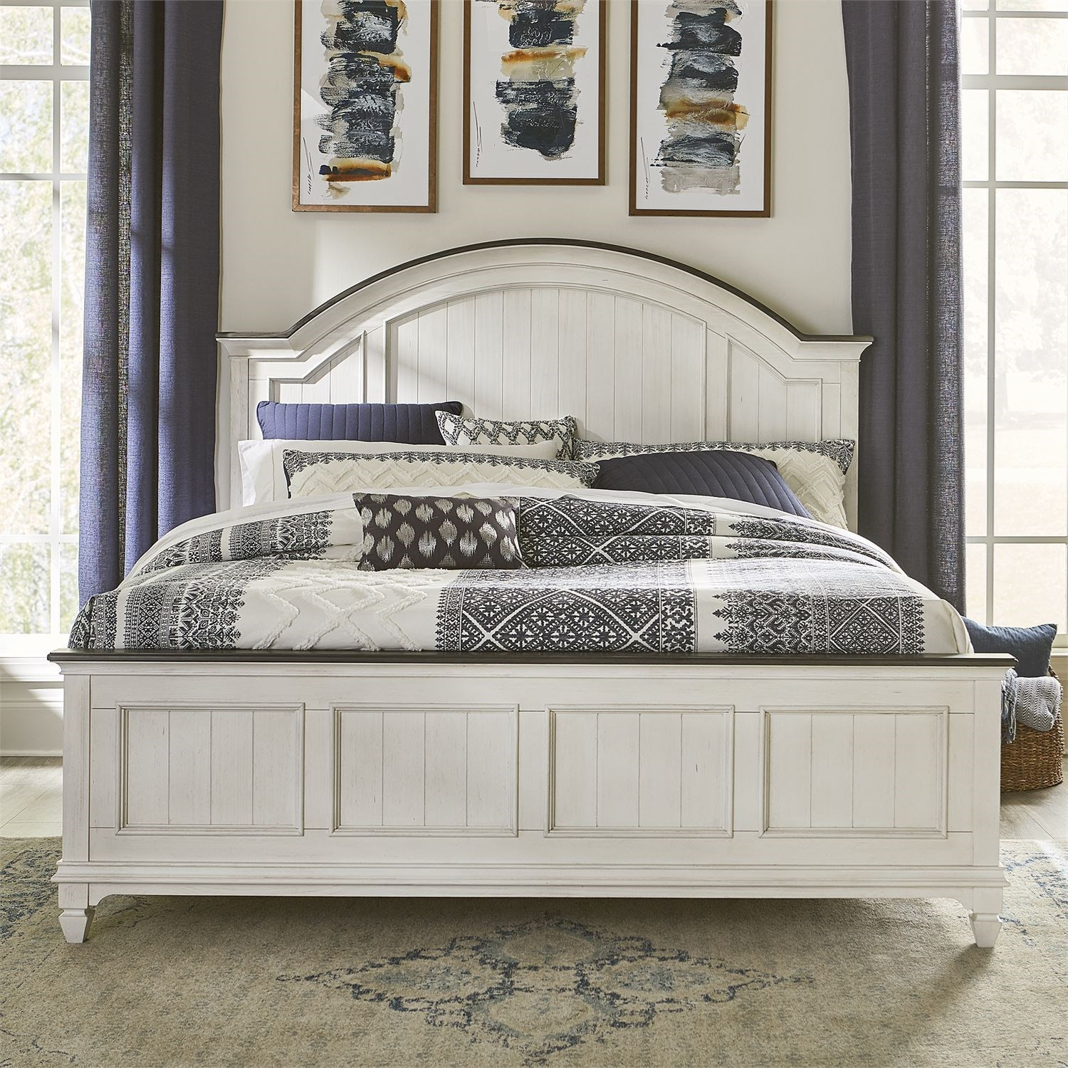 Allyson Park King Arched Panel Bed by Liberty Furniture at Furniture and ApplianceMart