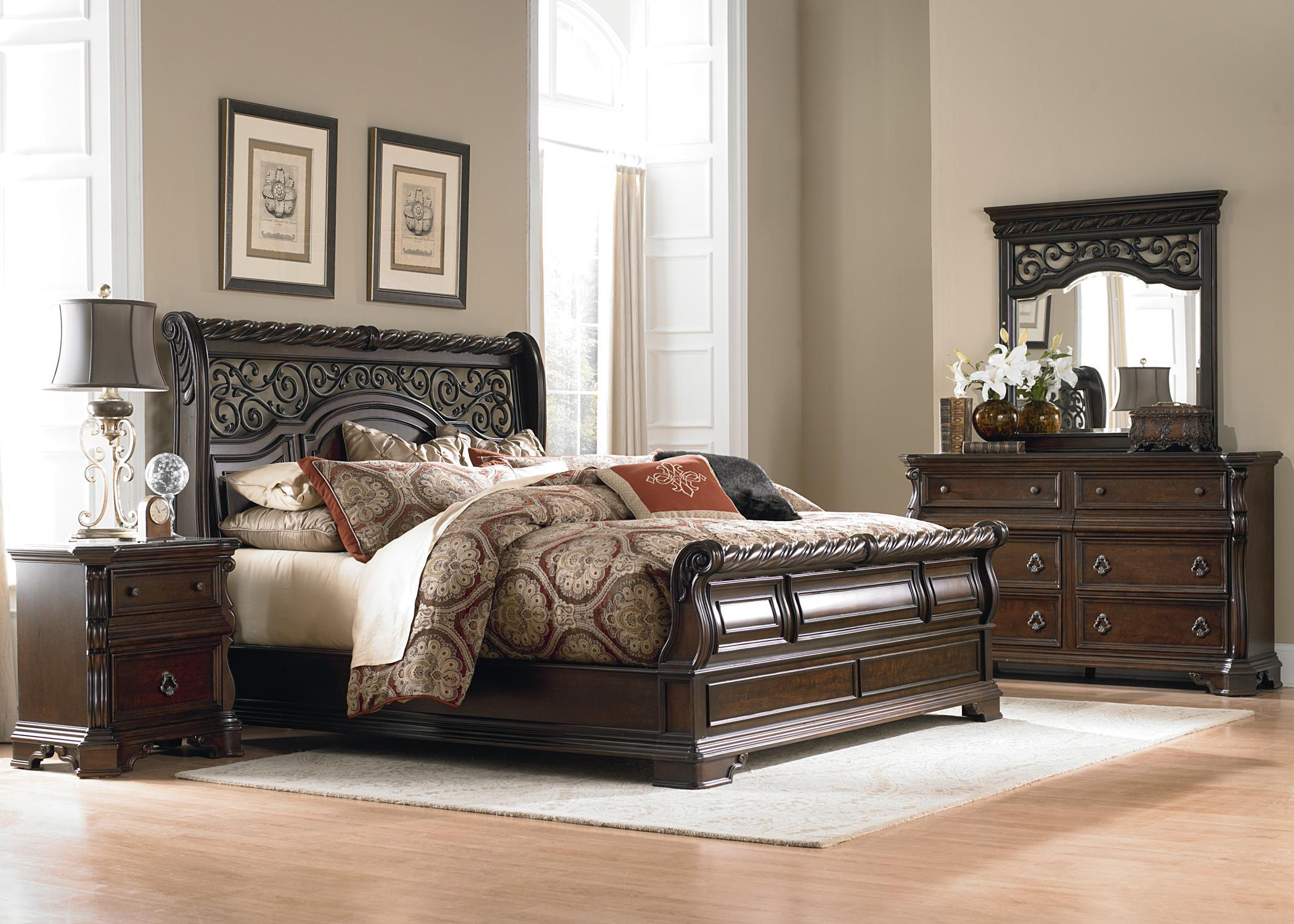 Liberty Furniture Arbor Place Queen Sleigh Bed, Dresser, Mirror & Nightsta - Item Number: LIBE-GRP-575-QUEENSUITE