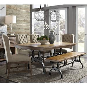 Liberty Furniture Arlington 411 6 Piece Trestle Table Set with Bench
