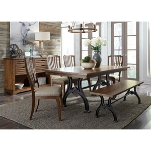 Liberty Furniture Arlington 6 Piece Trestle Table Set with Bench