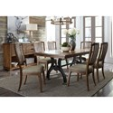Liberty Furniture Arlington 7 Piece Trestle Table Set - Item Number: 411-DR-O7TRS