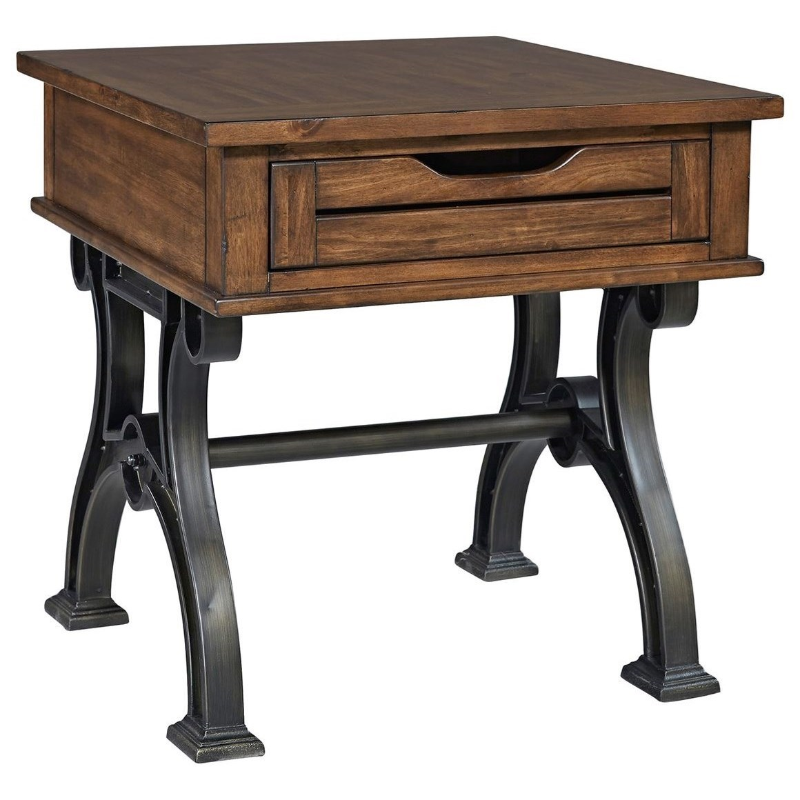 Arlington Industrial Drawer End Table With Metal Trestle Base By Liberty  Furniture At Rotmans