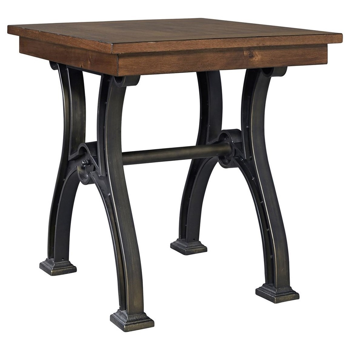 Arlington Industrial End Table With Metal Trestle Base By Liberty Furniture At Royal Furniture
