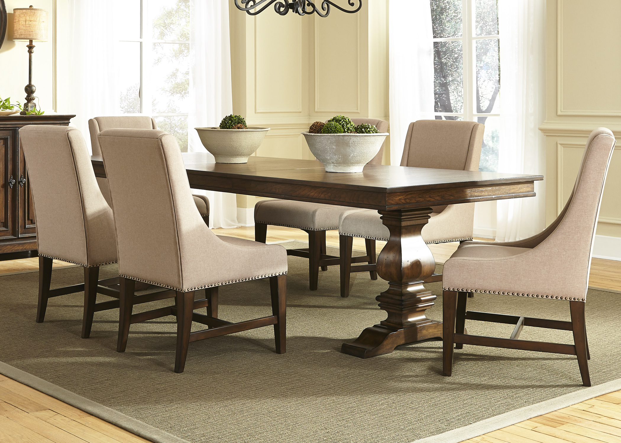 Liberty Furniture Armand 7 Piece Trestle Table Set - Item Number: 242-DR-7TRS