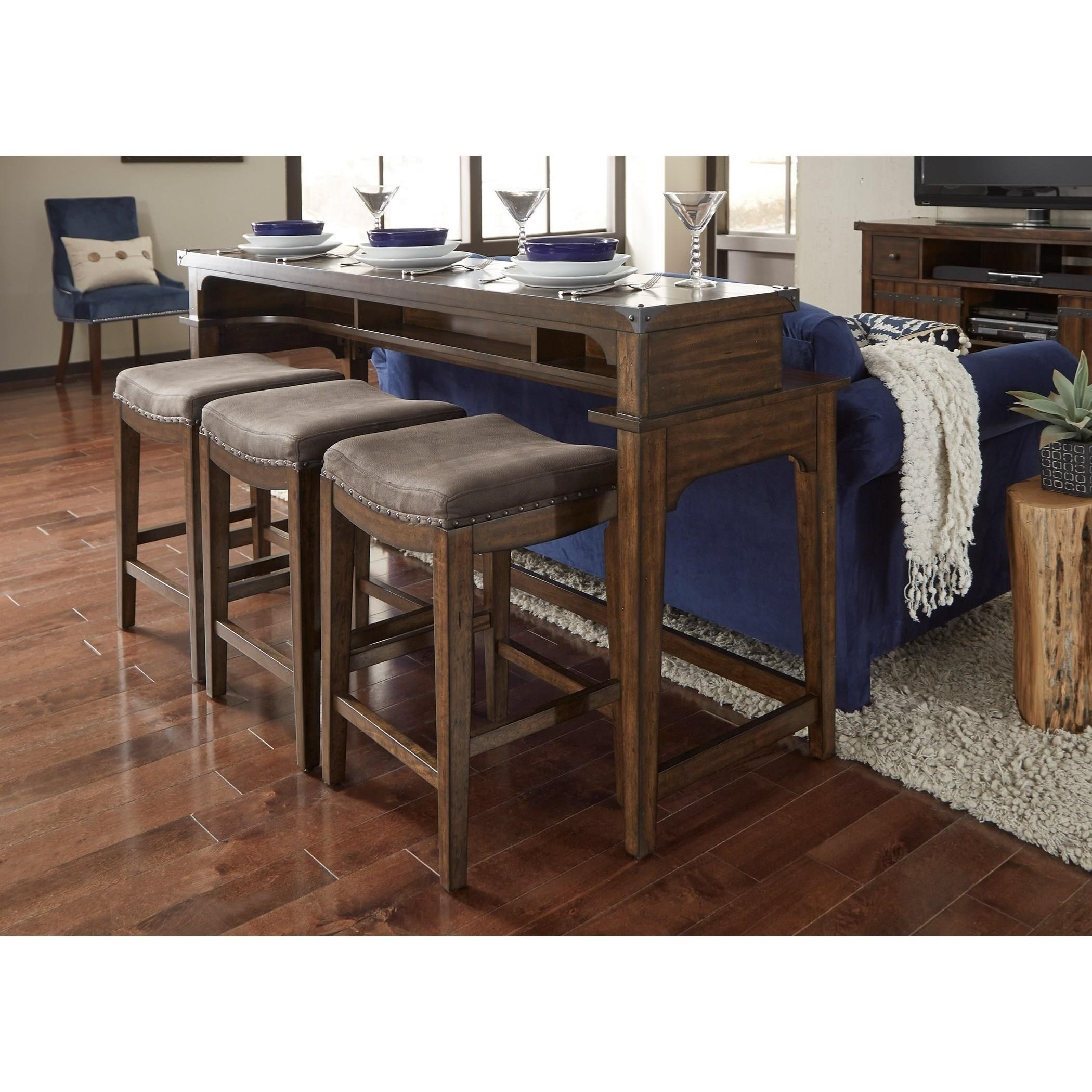 Aspen Skies Counter Height Sofa Table and Stool Set by Liberty Furniture at Standard Furniture