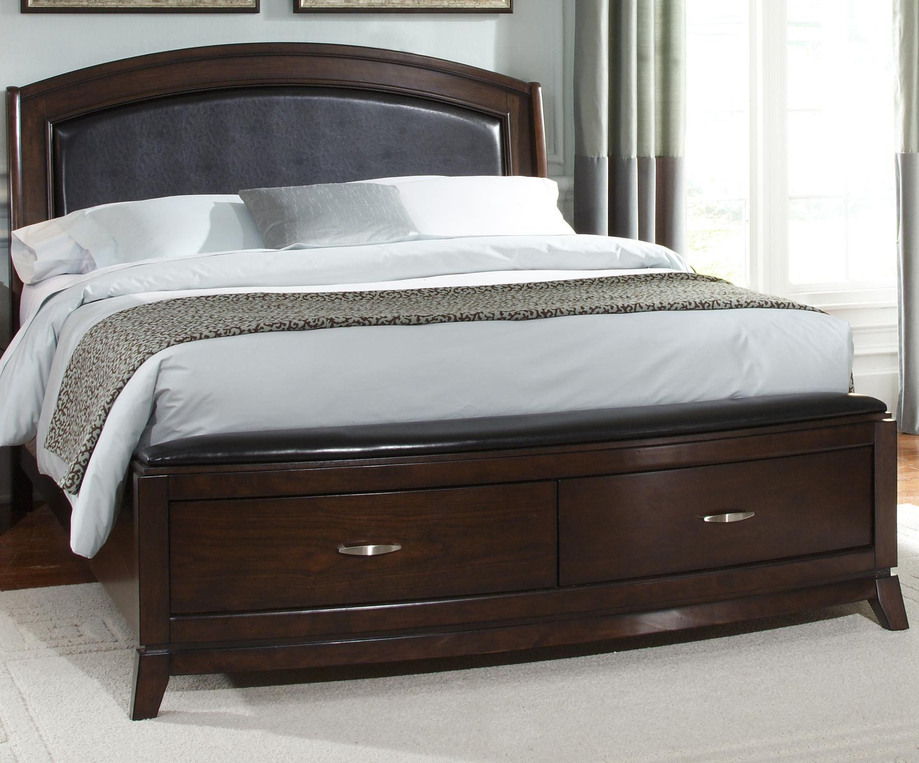 Leather Queen Platform Bed with Storage