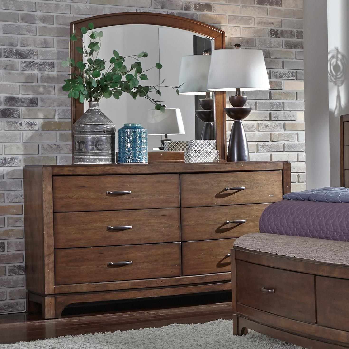 Liberty Furniture Avalon III Dresser & Arch Top Mirror - Item Number: 705-BR-DM