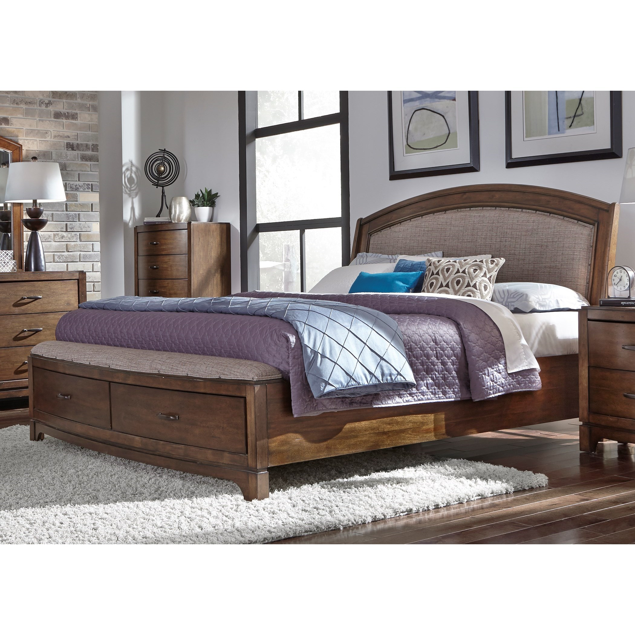 King Storage Bed with Upholstered Headboard