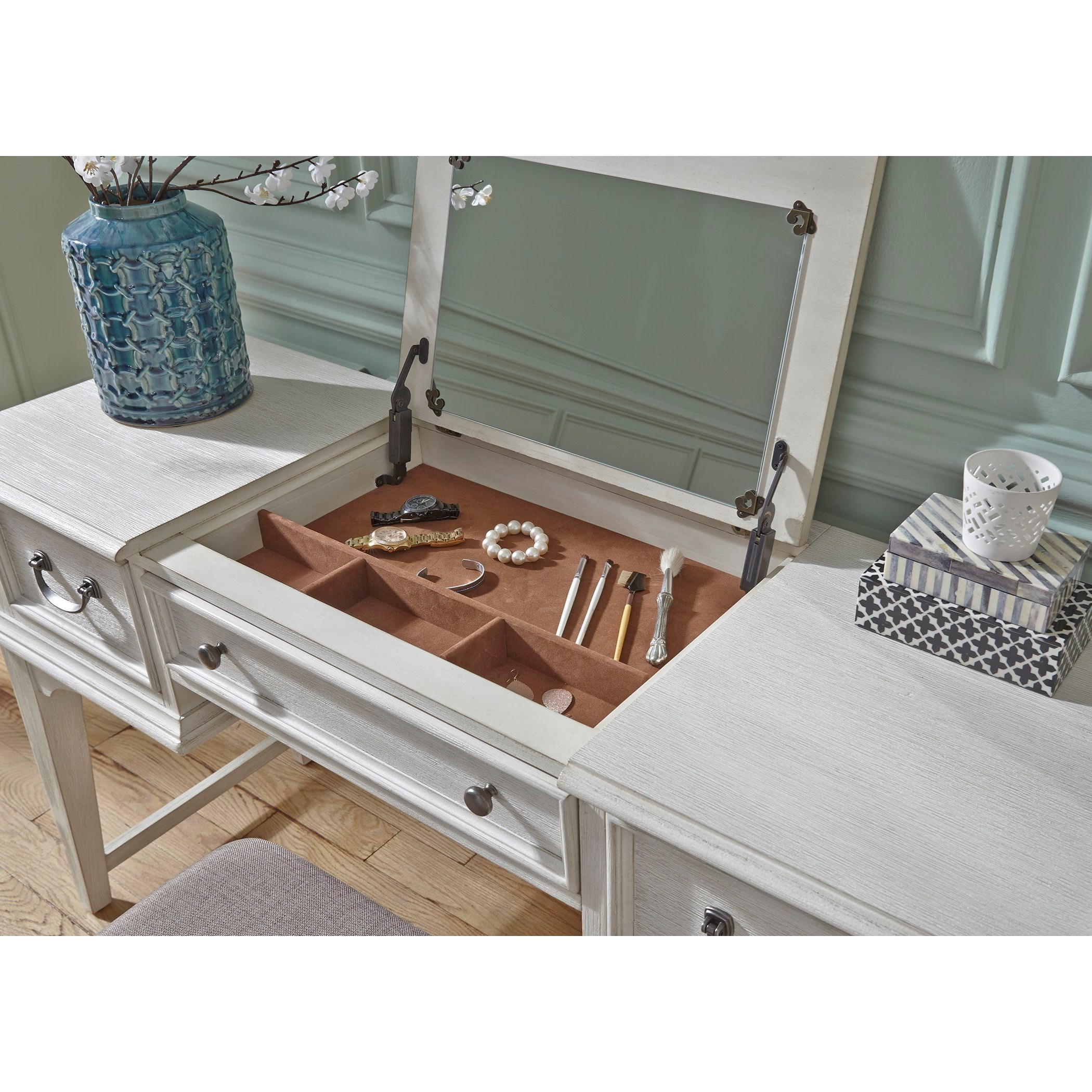 Bayside Bedroom Transitional Vanity Desk with Lift Top Jewelry Storage by  Liberty Furniture at Standard Furniture