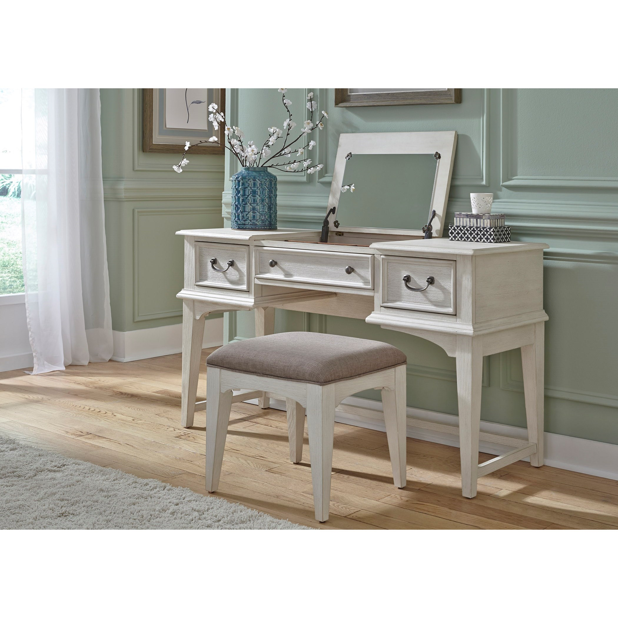 Bayside Bedroom Vanity by Liberty Furniture at Zak's Home