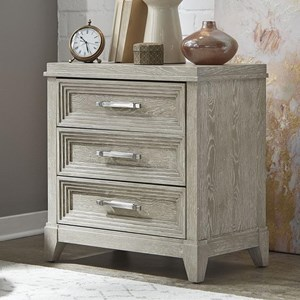 Contemporary 3-Drawer Nightstand with Inset Top