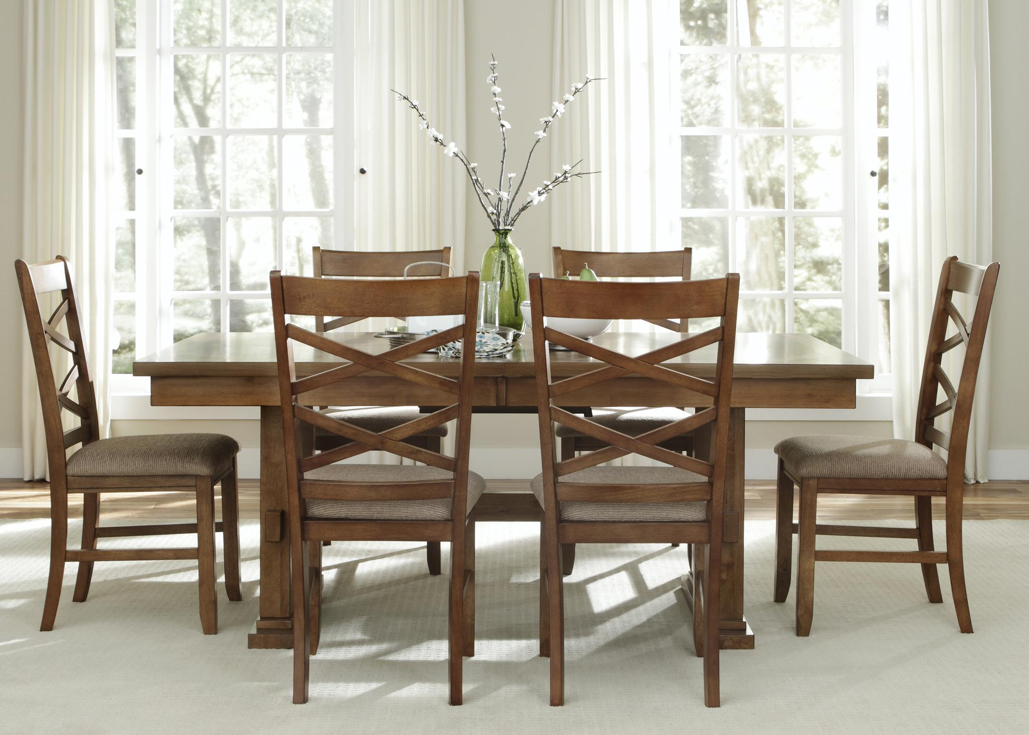 Liberty Furniture Bistro 7 Piece Trestle Table Set  - Item Number: 64-CD-SET36