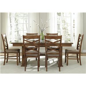 Vendor 5349 Bistro 7 Piece Trestle Table Set