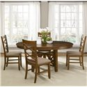 Liberty Furniture Applewood Round-to-Oval Single Pedestal Dining Table with 18-Inch Butterfly Leaf - Shown with Side Chairs