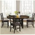 Liberty Furniture Bistro II Double X-Back Side Chair with Upholstered Seat - Shown with Pedestal Dining Table