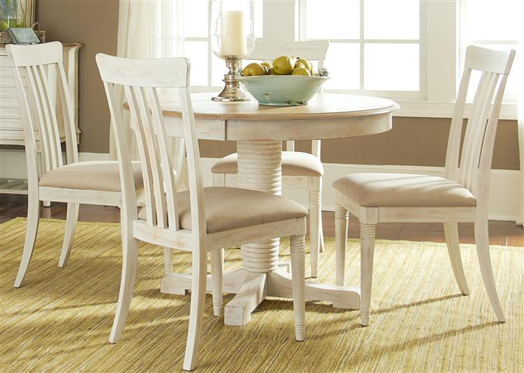 Liberty Furniture Bluff Cove Small Casual Dining Table and Chair Set - Item Number: 568-4xC1501S+P4260+T