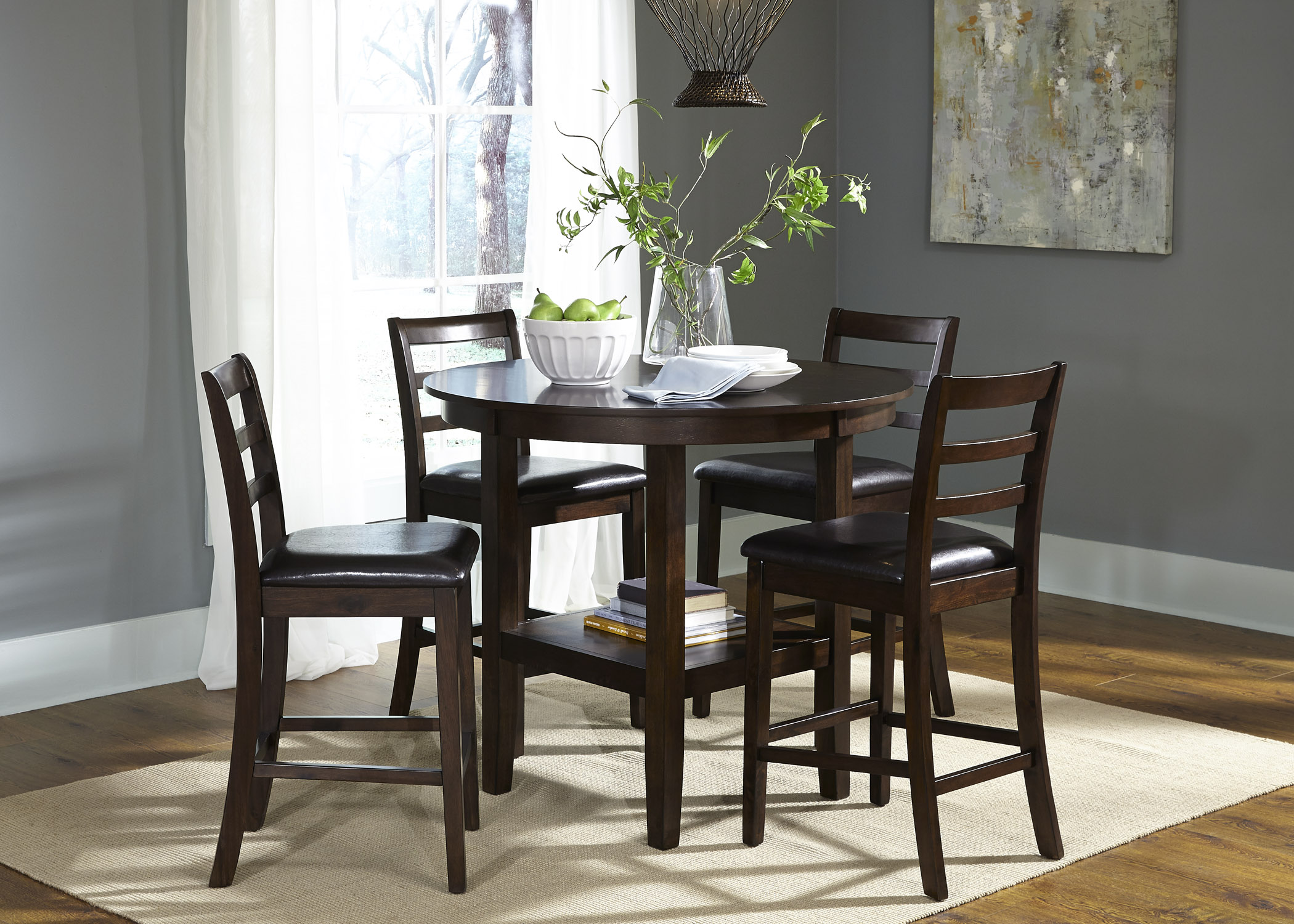Liberty Furniture Bradshaw Casual Dining 5 Piece Pub Table Set - Item Number 32- & Liberty Furniture Bradshaw Casual Dining 5 Piece Round Pub Table and ...