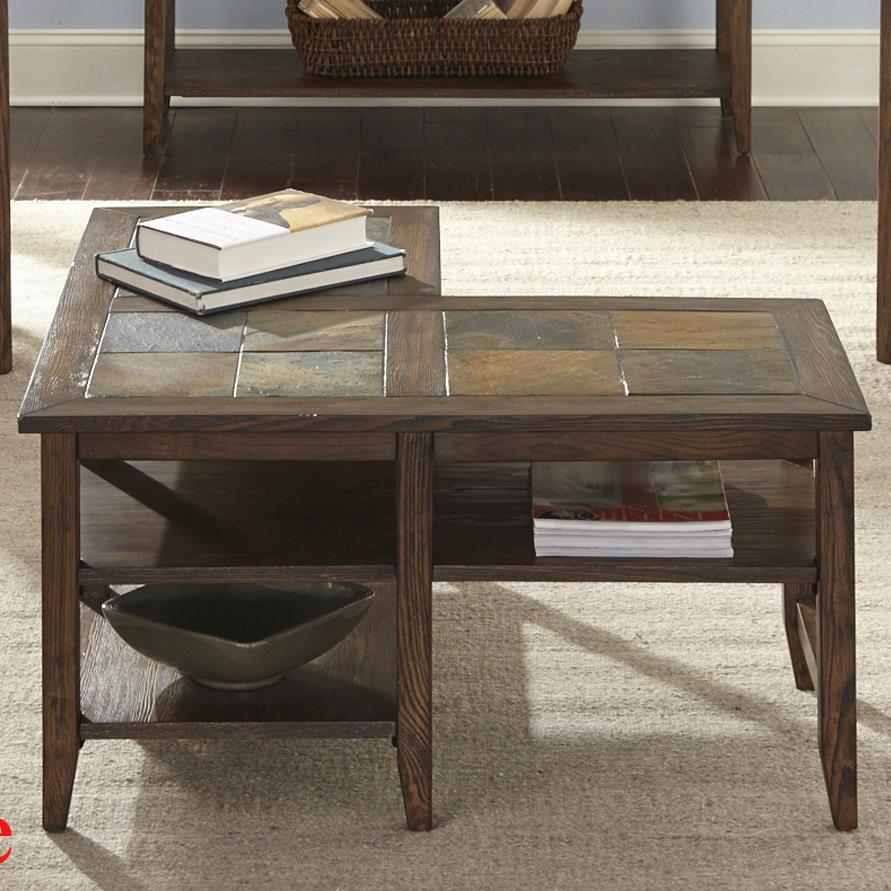 Liberty Furniture Brookstone L-Shaped Cocktail Table - Item Number: 107-OT1010