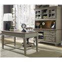 Liberty Furniture Bungalow Jr. Executive Table Desk w/ 2 Drawers - Shown in Room Setting with Credenza and Chair