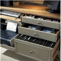 Liberty Furniture Bungalow Jr. Executive Credenza w/ Printer Tray  - Shown with Pull Out Drawers