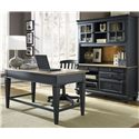 Liberty Furniture Bungalow II Jr. Executive Table Desk w/ 2 Drawers - Shown in Room Setting with Credenza and Chair