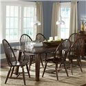 Liberty Furniture Cabin Fever Rectangular Leg Table with 18 Inch Leaf - Shown with Windsor Back Side Chairs