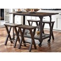 Liberty Furniture Caldwell Counter Height Kitchen Island with Industrial Casters