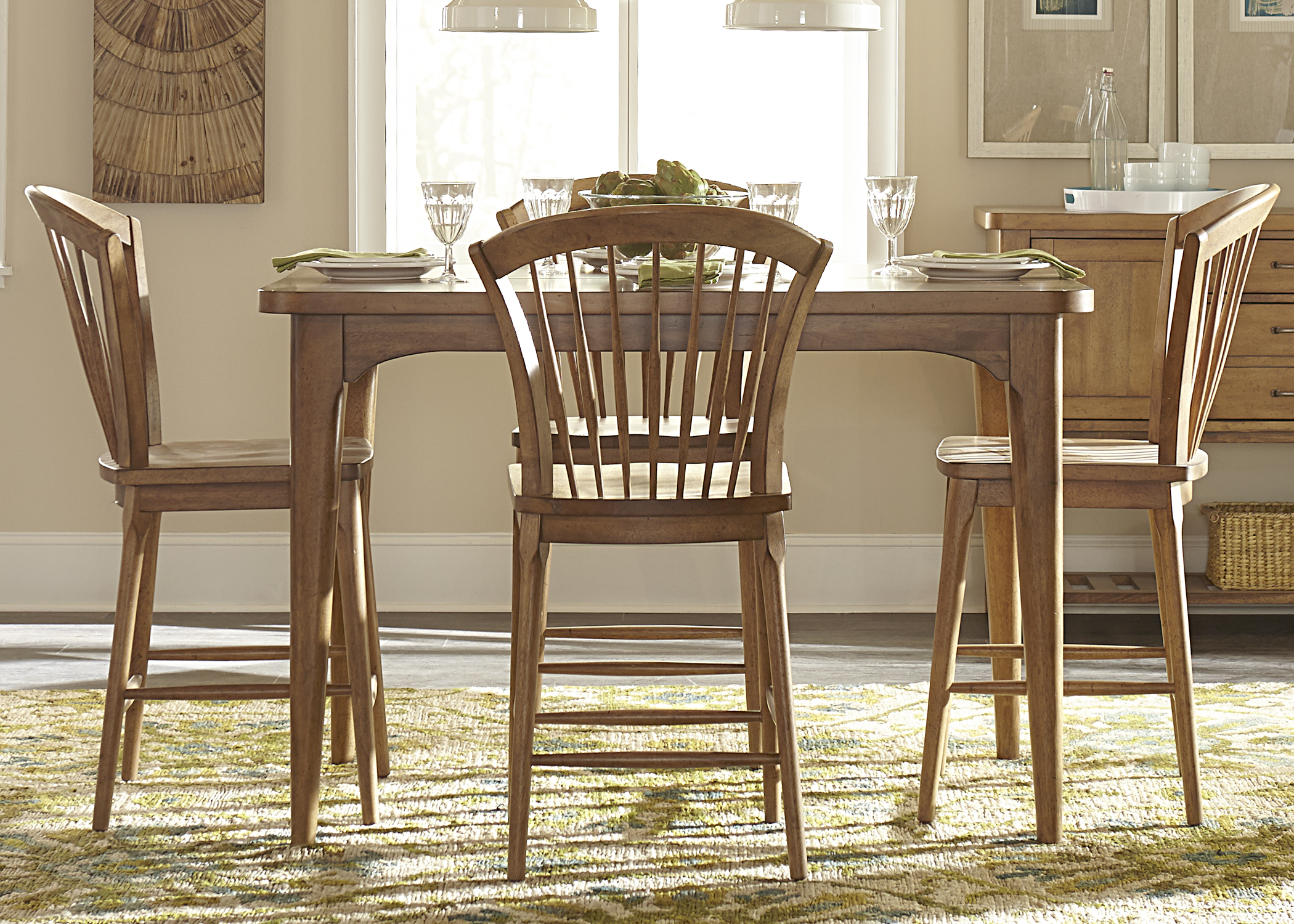 Liberty Furniture Candler 5 Piece Counter Height Gathering Table Set - Item Number: 223-CD-5GTS