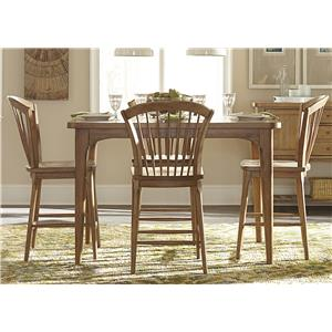 Vendor 5349 Candler 5 Piece Counter Height Gathering Table Set