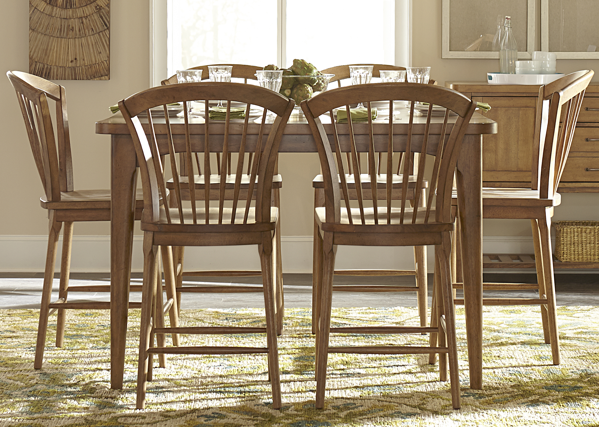 Liberty Furniture Candler 7 Piece Counter Height Gathering Table Set - Item Number: 223-CD-7GTS