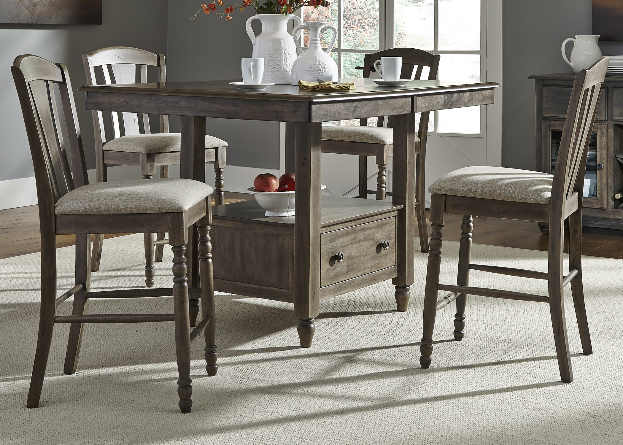 Liberty Furniture Candlewood 5 Piece Gathering Table Set - Item Number 163-CD- : gathering table set - pezcame.com