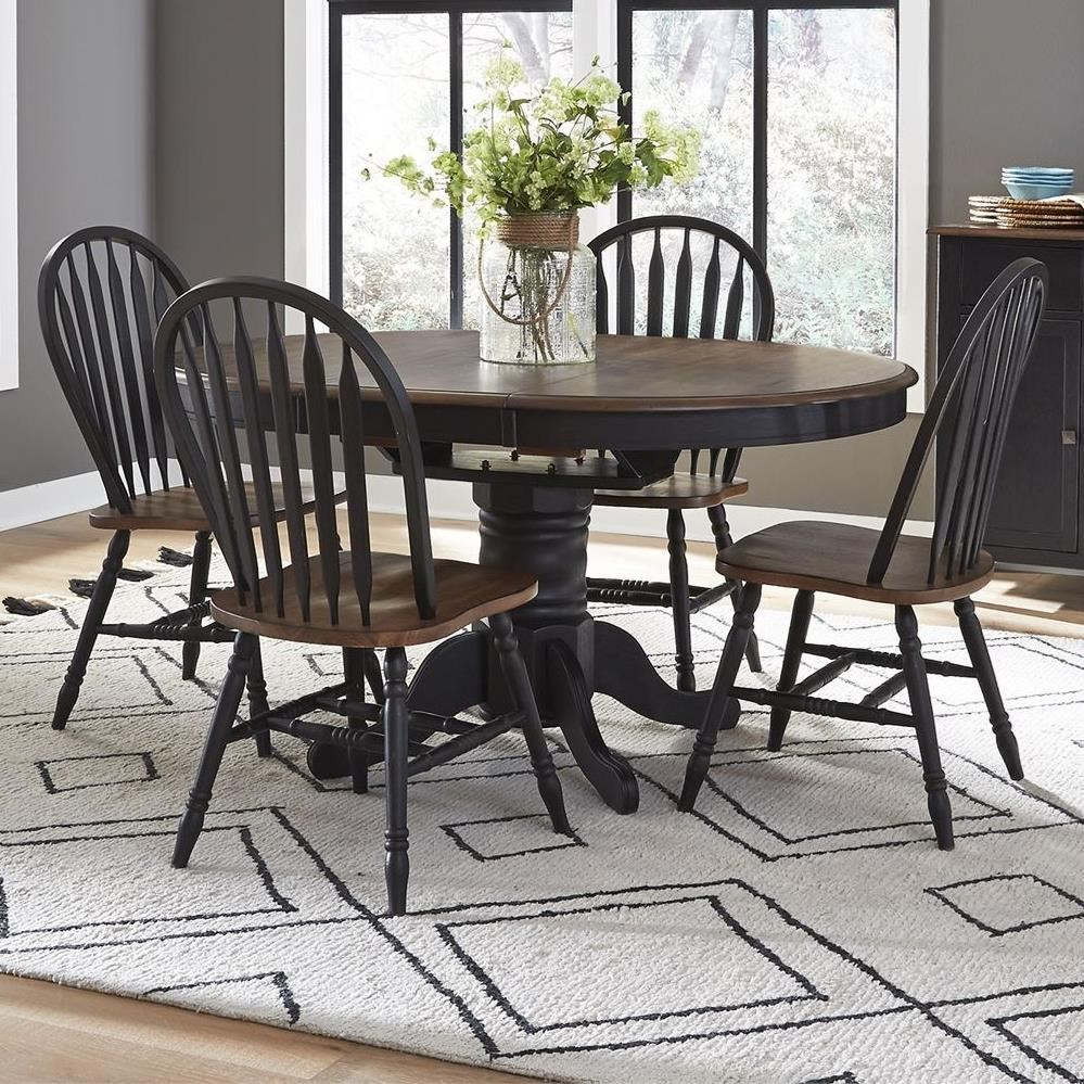 Liberty Furniture Carolina Crossing Transitional Pedestal Table And Chair Set With Table Leaf Royal Furniture Dining 5 Piece Sets