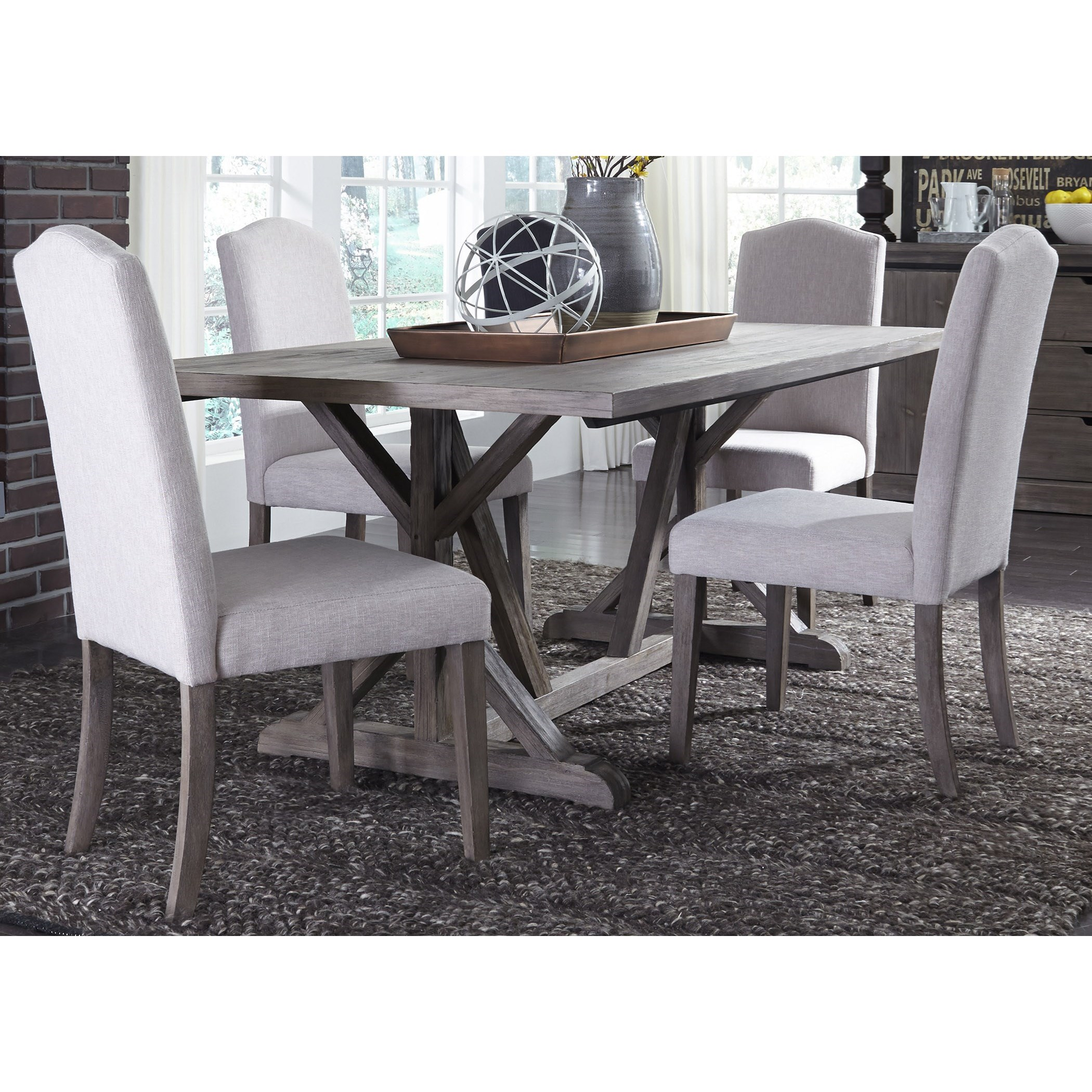 Carolina Lakes 5 Piece Trestle Table Set  by Libby at Walker's Furniture