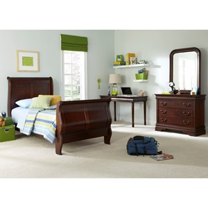 Vendor 5349 Carriage Court Twin Sleigh Bed, Dresser & Mirror