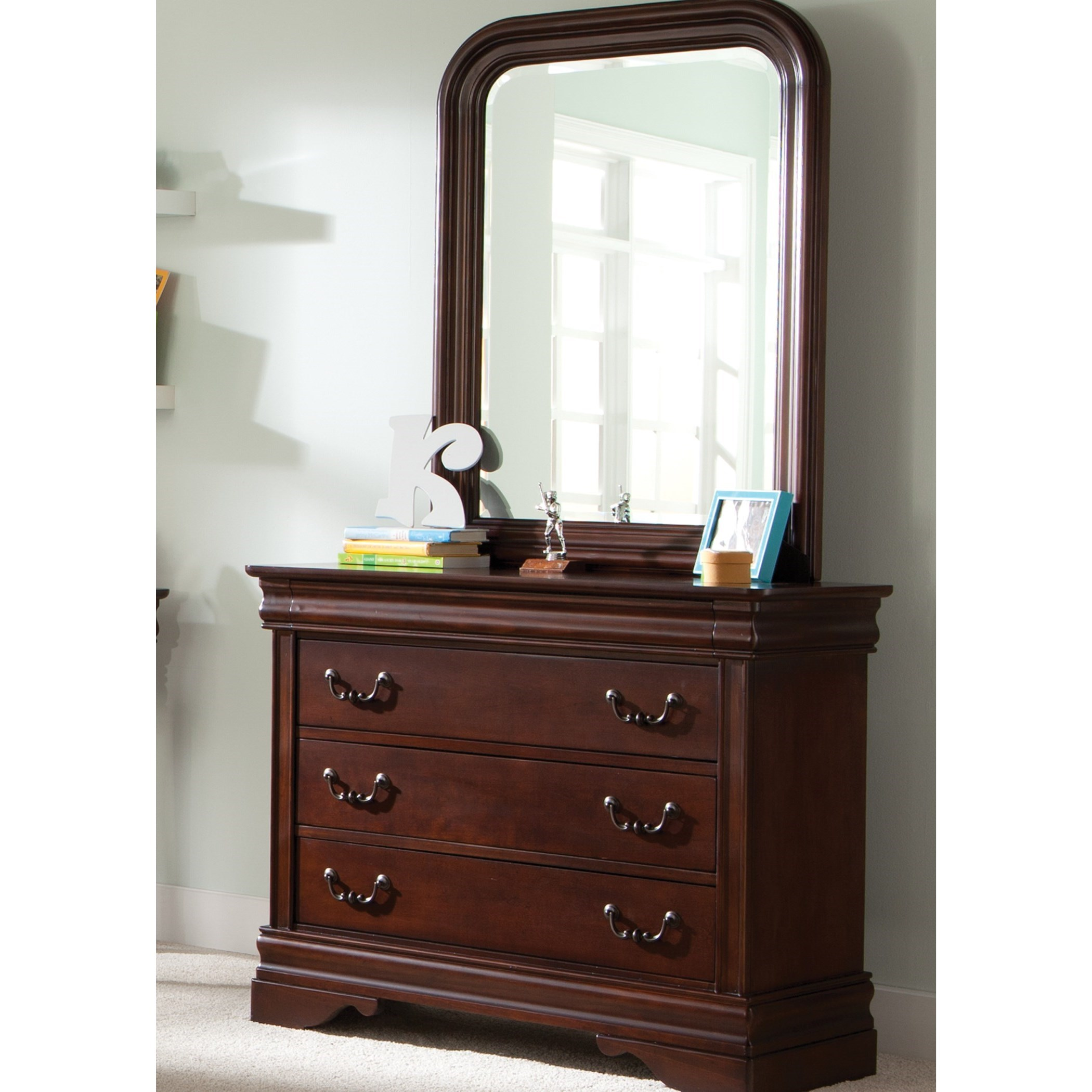 Liberty Furniture Carriage Court Dresser & Mirror - Item Number: 709-YBR-SET50