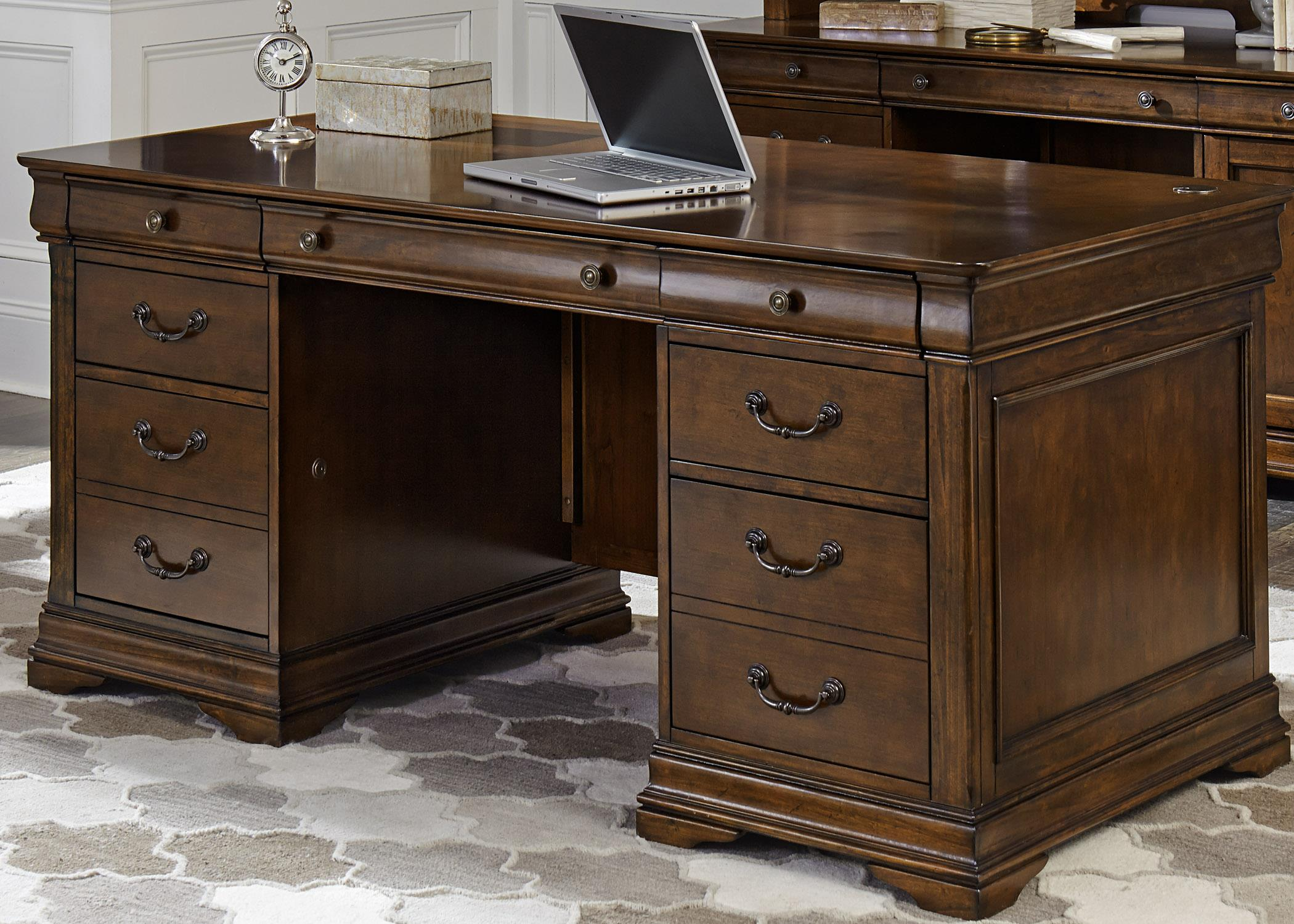 Liberty Furniture Chateau Valley Jr Executive Desk - Item Number: 901-HOJ-JED