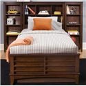 Vendor 5349 Chelsea Square Youth Twin Bookcase Bed - Shown with Optional Additional Student Bookcases on L and R